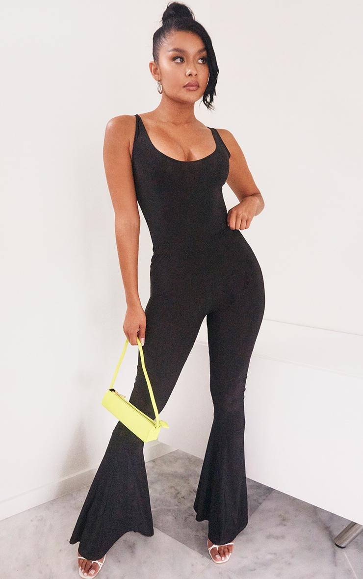 Pantalon taille haute flare slinky noir 1