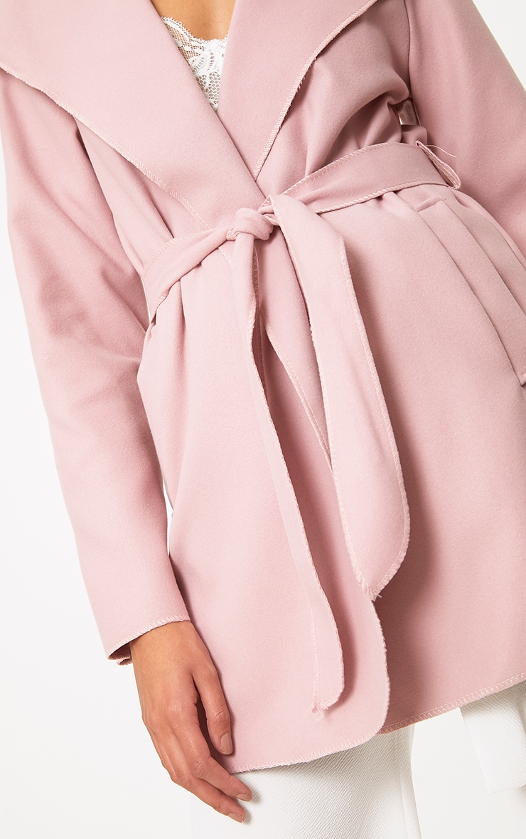 Pink Waterfall Belted Coat 5