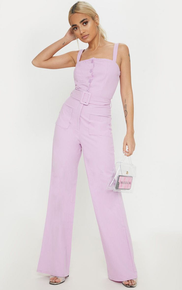 Petite Lilac Wide Leg Square Pocket Button Jumpsuit 1