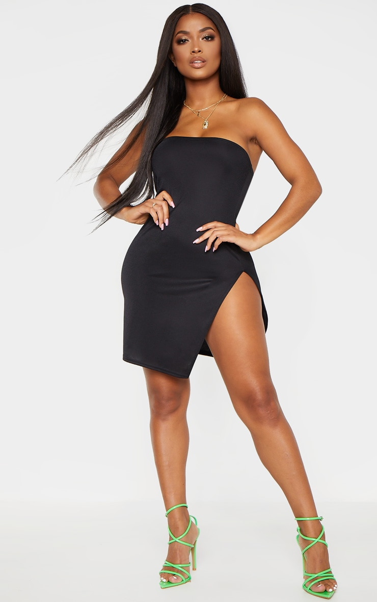 Shape Black Bandeau Split Bodycon Dress 4