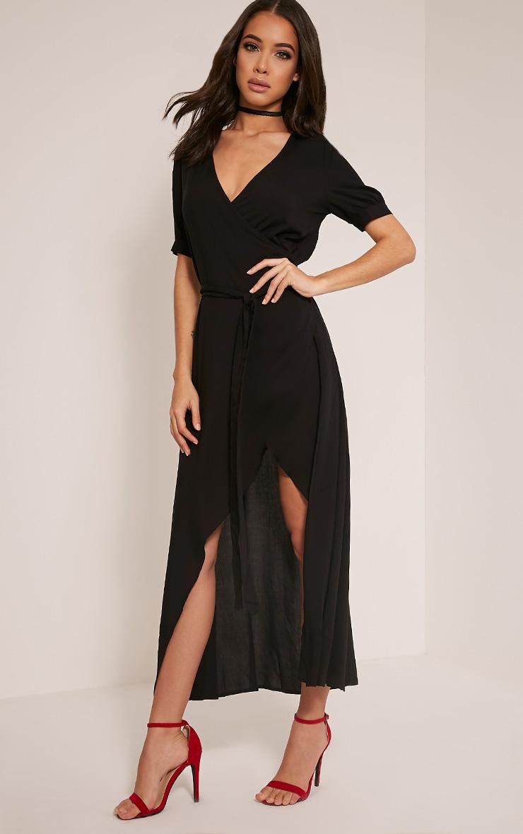 Renesmee Black Wrap Maxi Shirt Dress 2