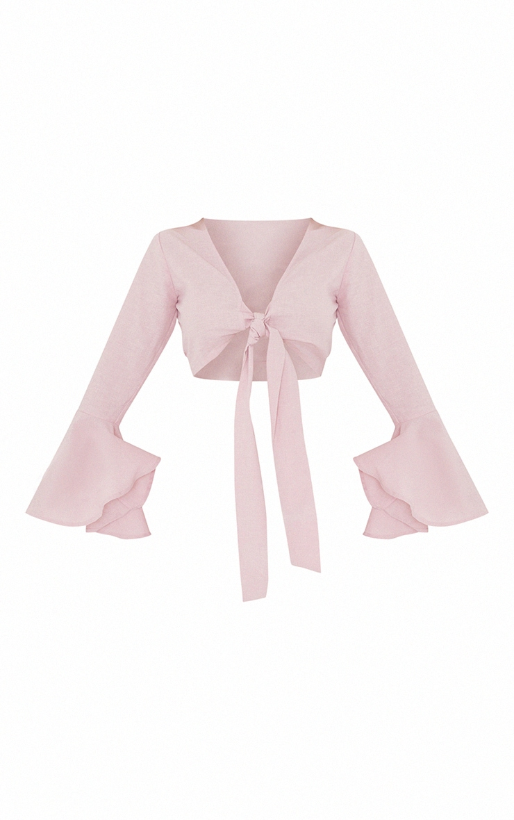 Pink Linen Feel Tie Front Tiered Hem Long Sleeve Crop Top 5