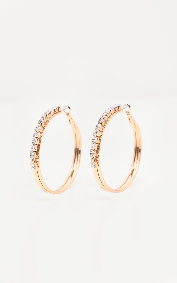 Gold Diamante Medium Hoop Earrings 1