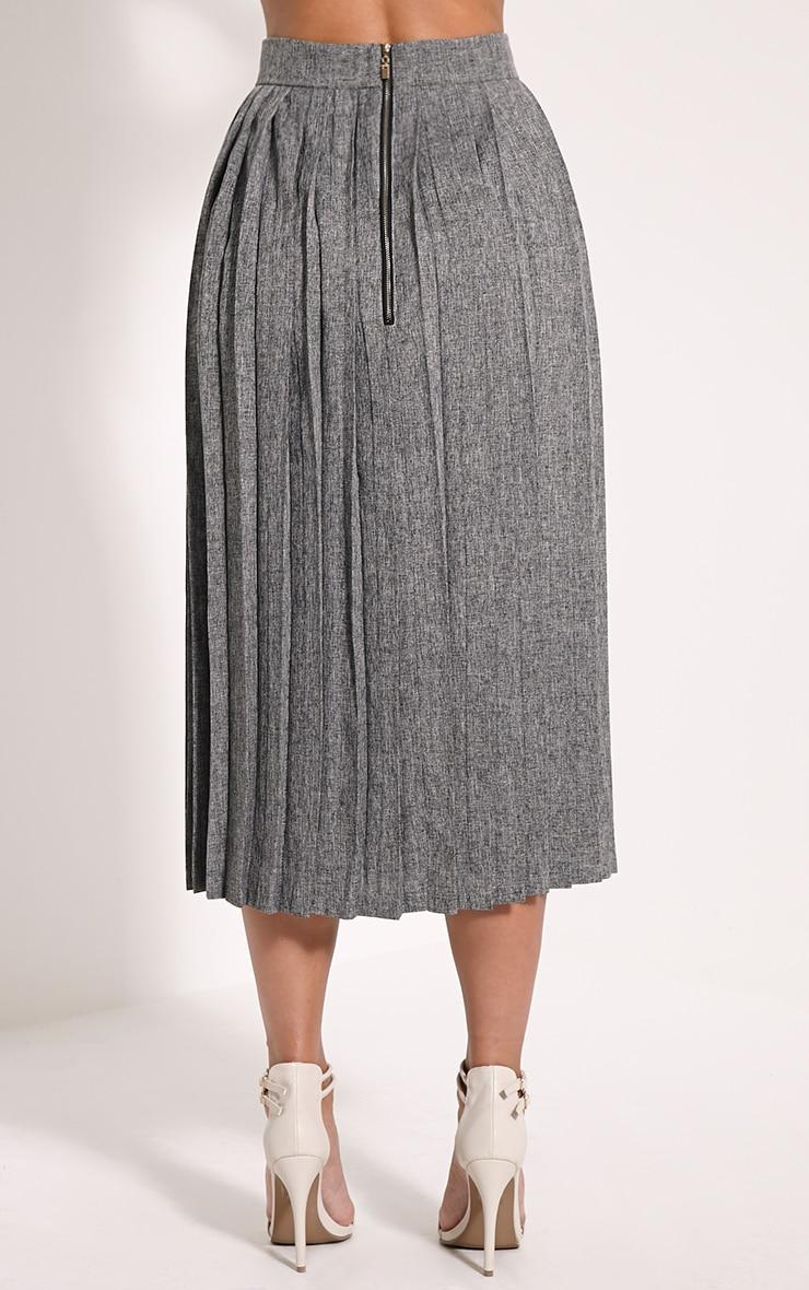 Leannah Grey Pleated Midi Skirt 2