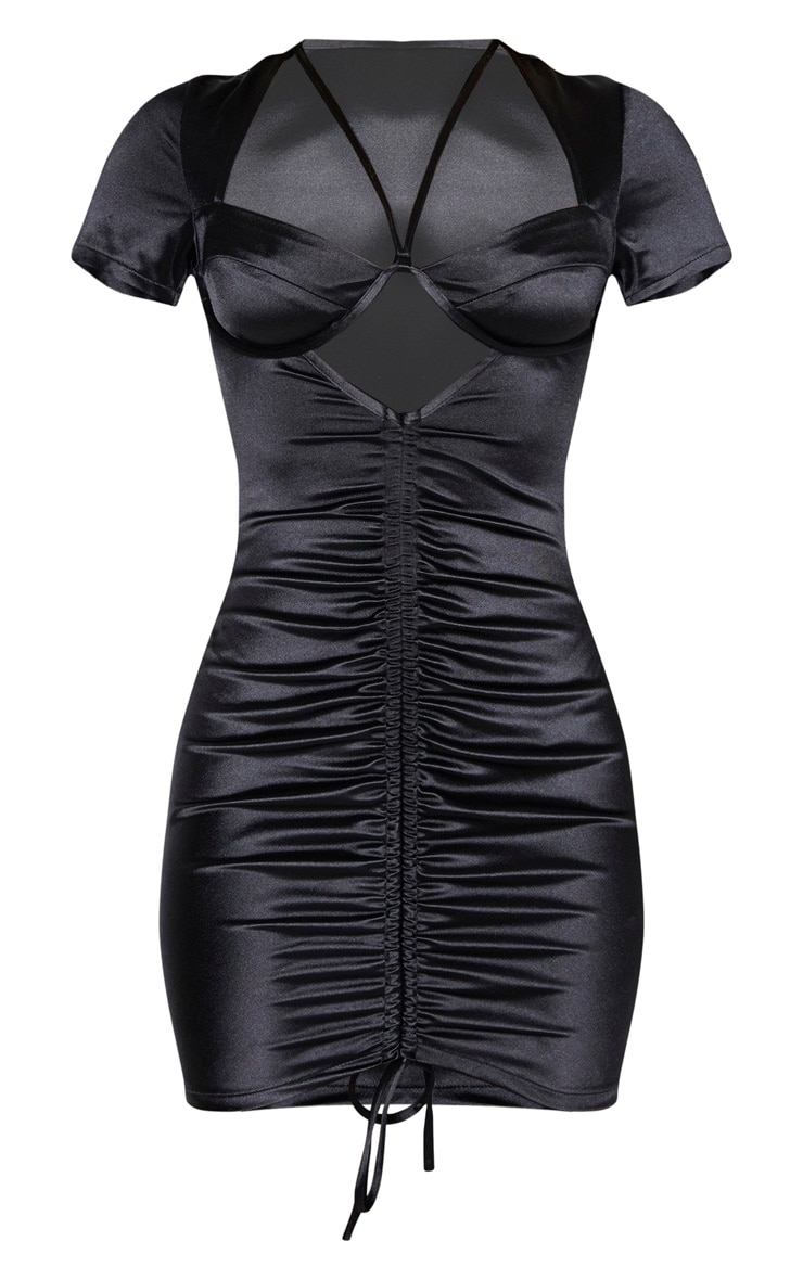 Black Satin Cup Detail Ruched Front Bodycon Dress 3