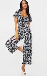 Black Daisy Print Short Puff Sleeve Culotte Jumpsuit 1
