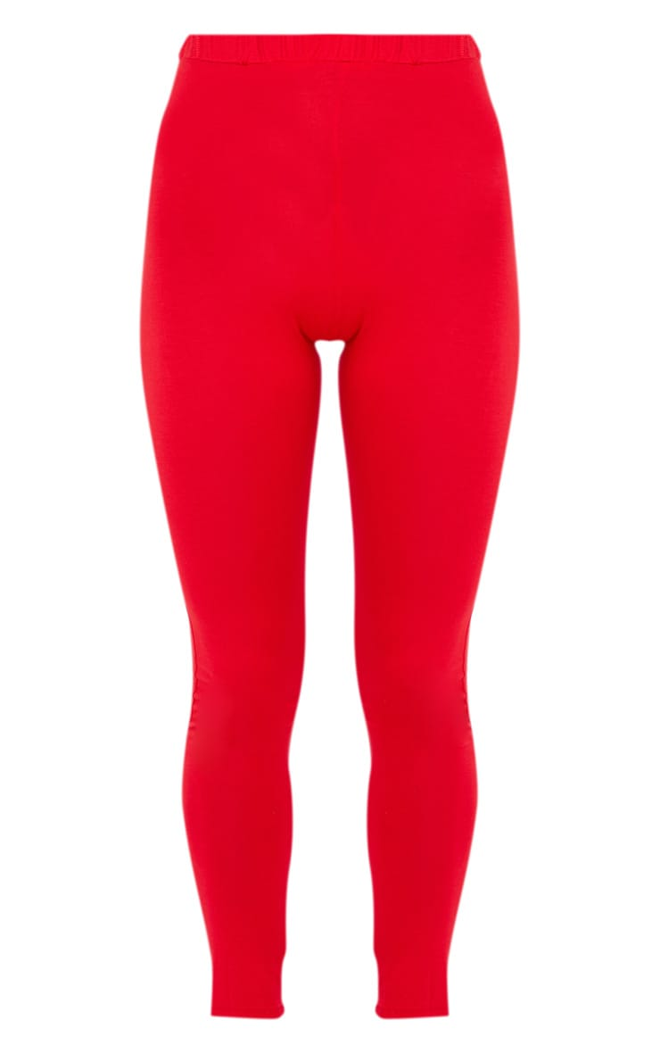 Red Ruched Back Jersey Leggings 3