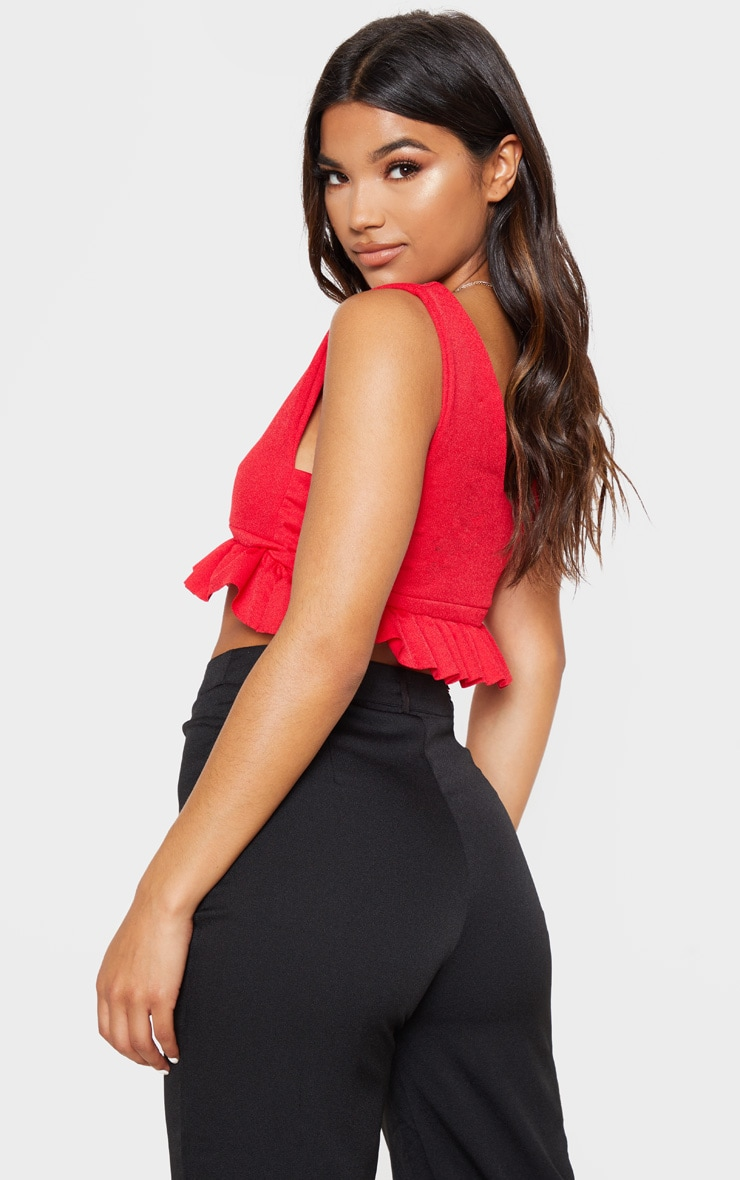 Red Frill Hem Plunge Crop Top 2