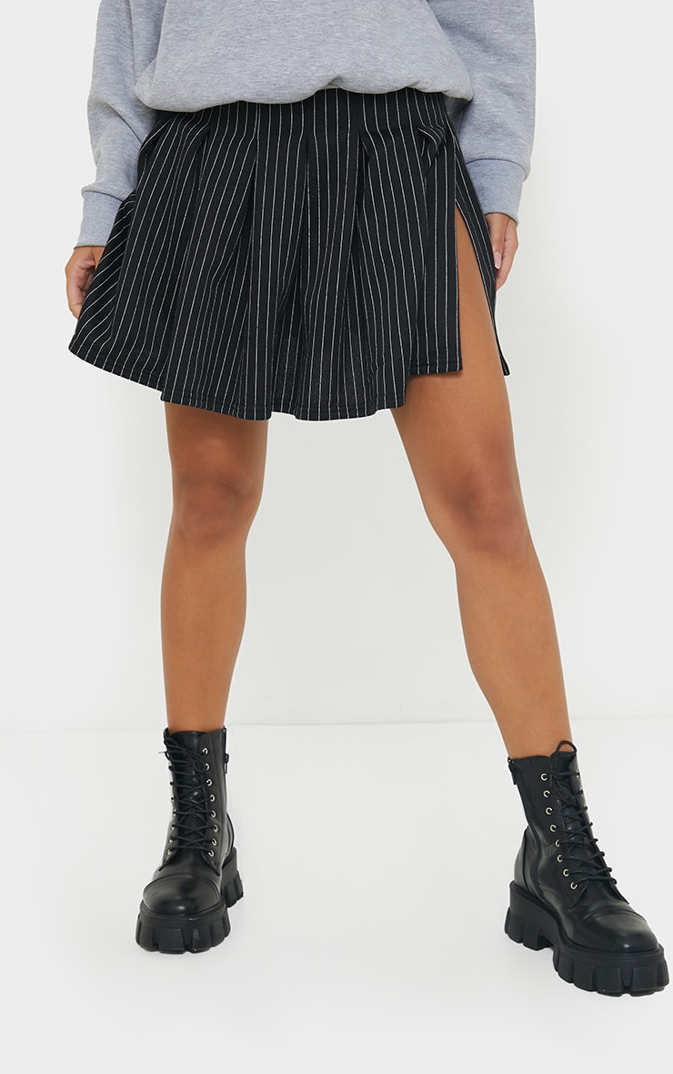 Black Pinstripe Pleated Skater Skirt 2