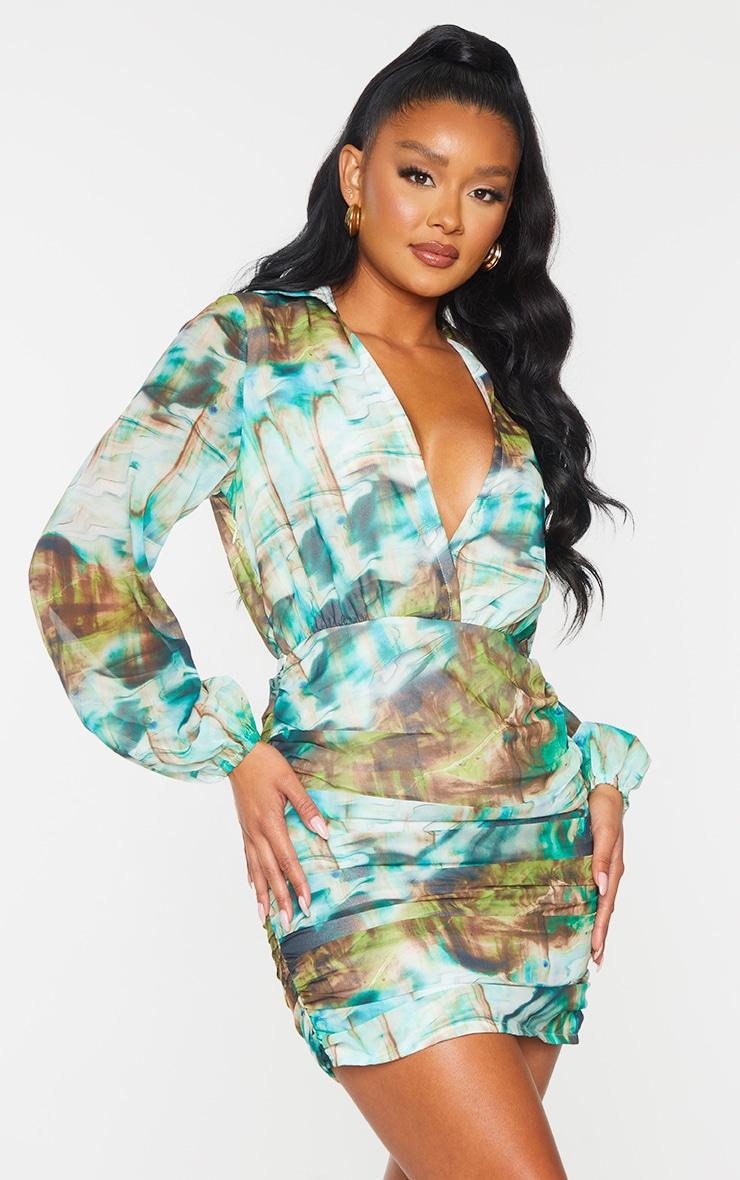 Multi Print Chiffon Plunge Ruched Skirt Long Sleeve Bodycon Dress