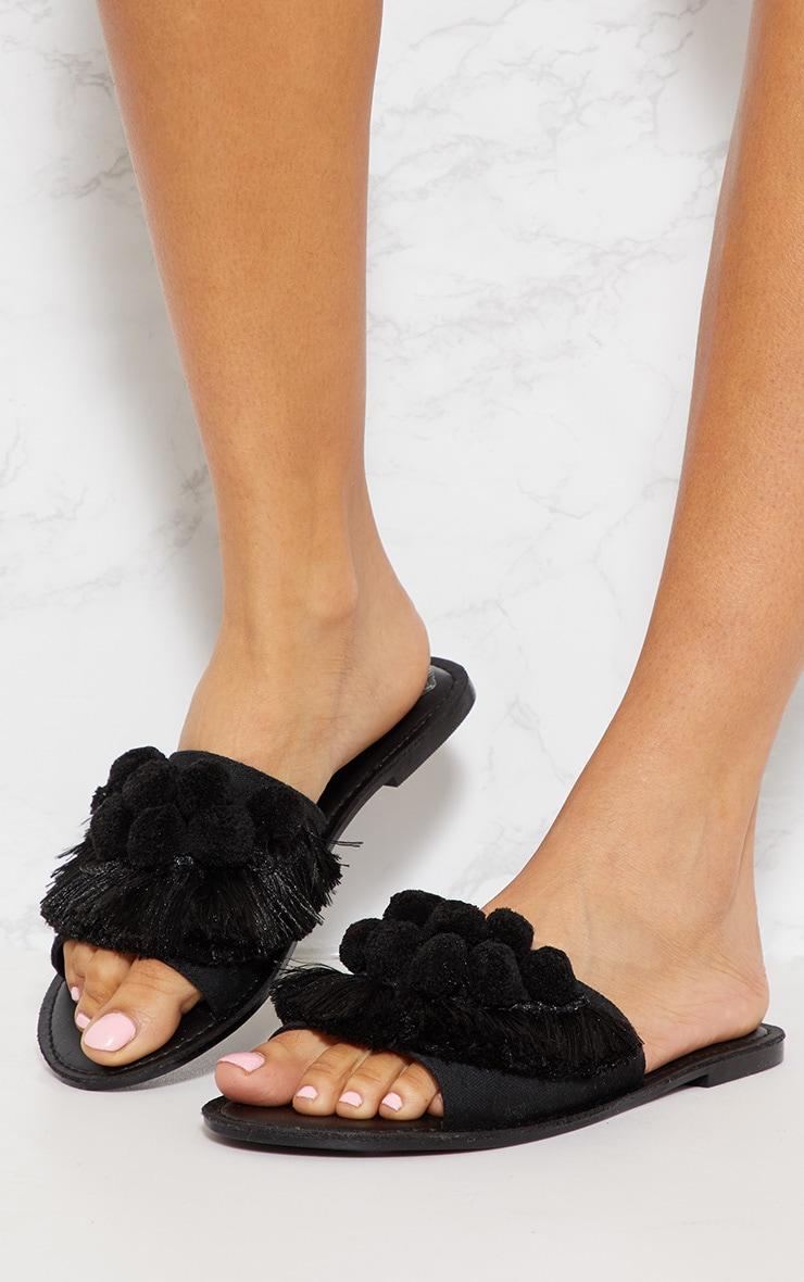 Black Pom Pom Sandal  3
