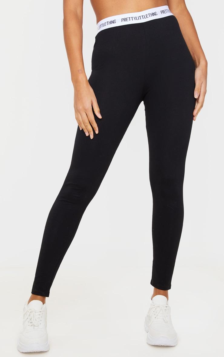 PRETTYLITTLETHING - Legging en coton noir à taille haute 2