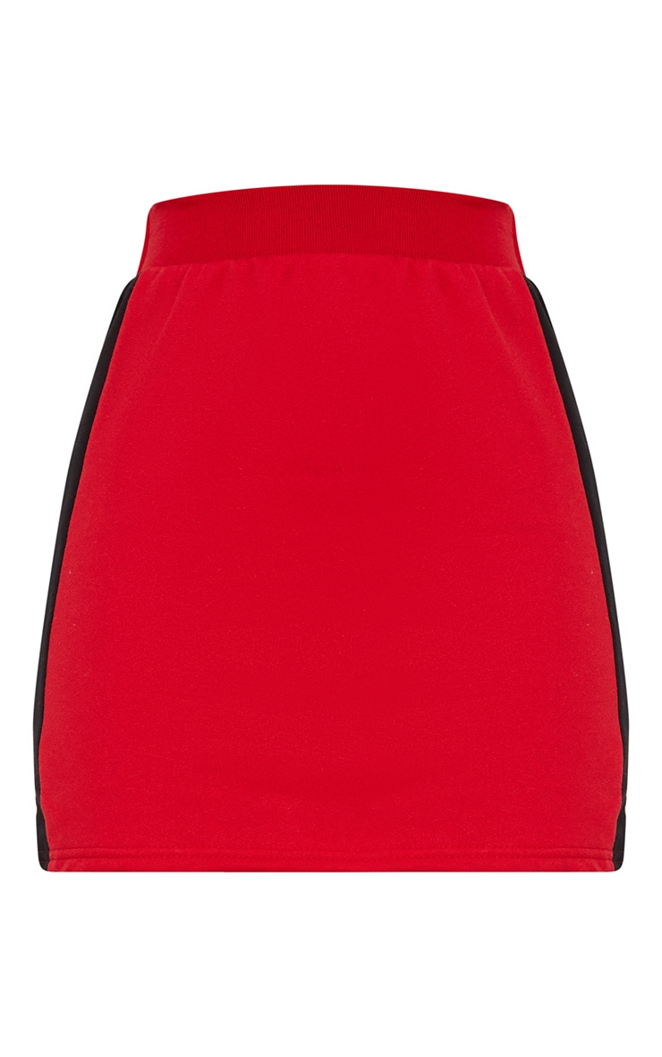 Red Contrast Side Panel Sweat Mini Skirt  3