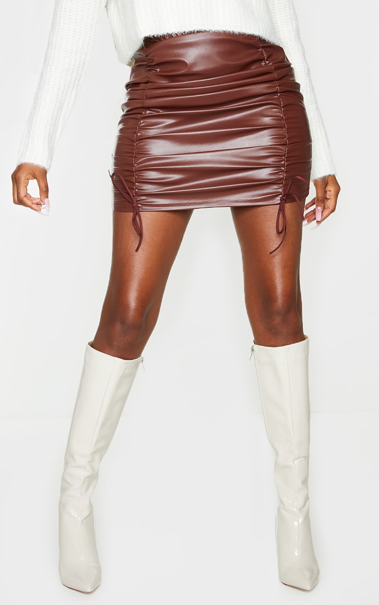 Chocolate Faux Leather Ruched Tie Detail Mini Skirt 2