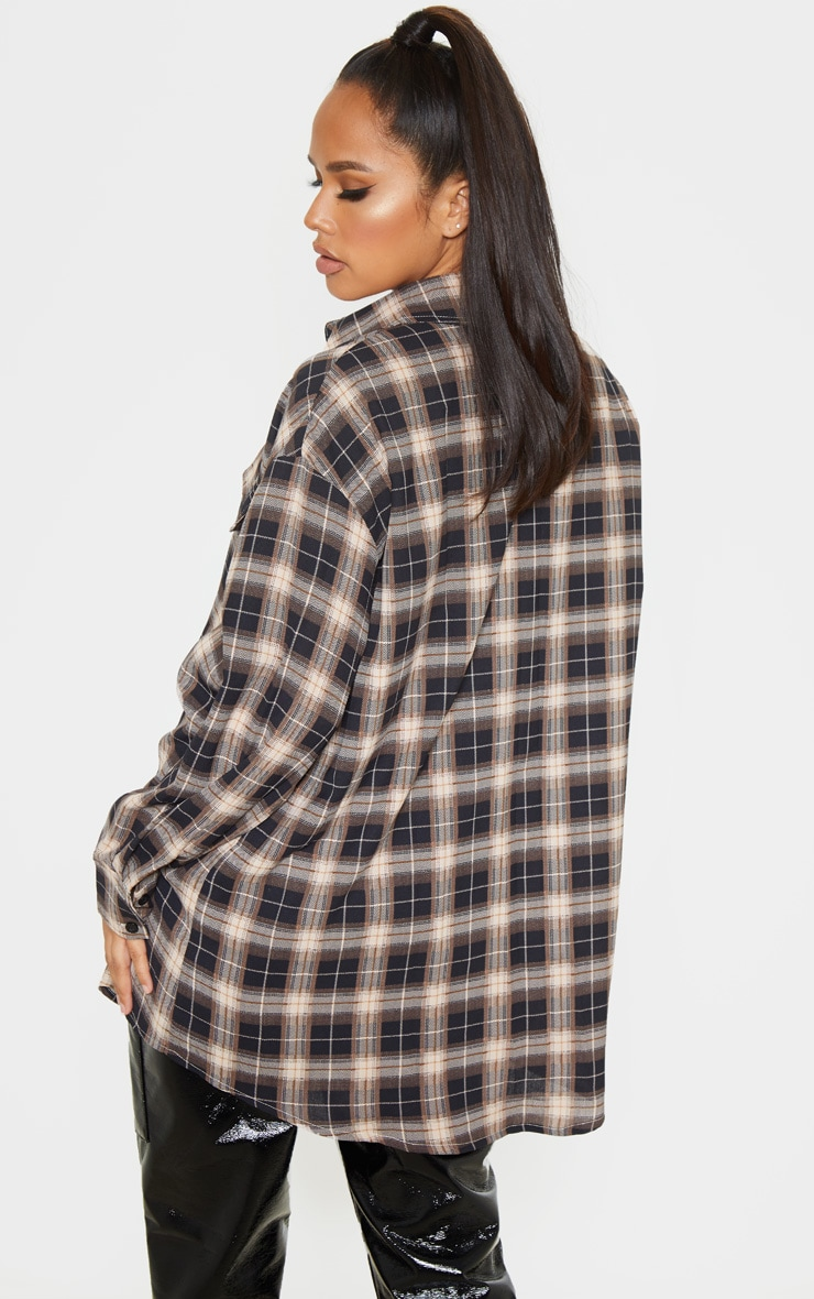 Chocolate Checked Pocket Detail Oversized Shirt 2