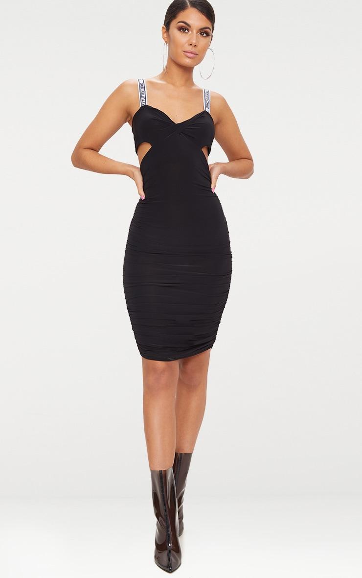 PRETTYLITTLETHING Black Twist Ruched Midi Dress 4