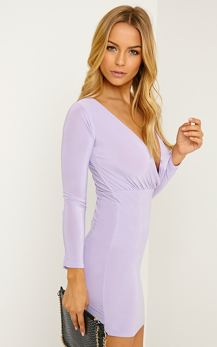 Brylie Lilac Cross Front Mini Dress 4