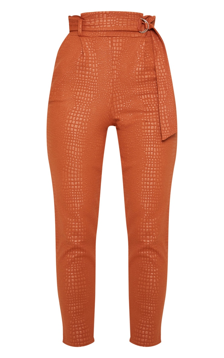 Tan Croc Print D Ring Belted Skinny Trousers 3