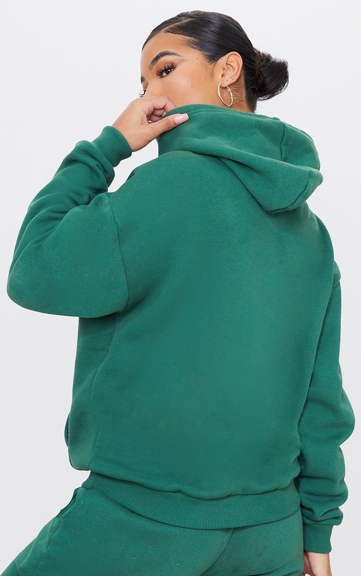 PRETTYLITTLETHING Forest Green Badge Detail Oversized Hoodie 2
