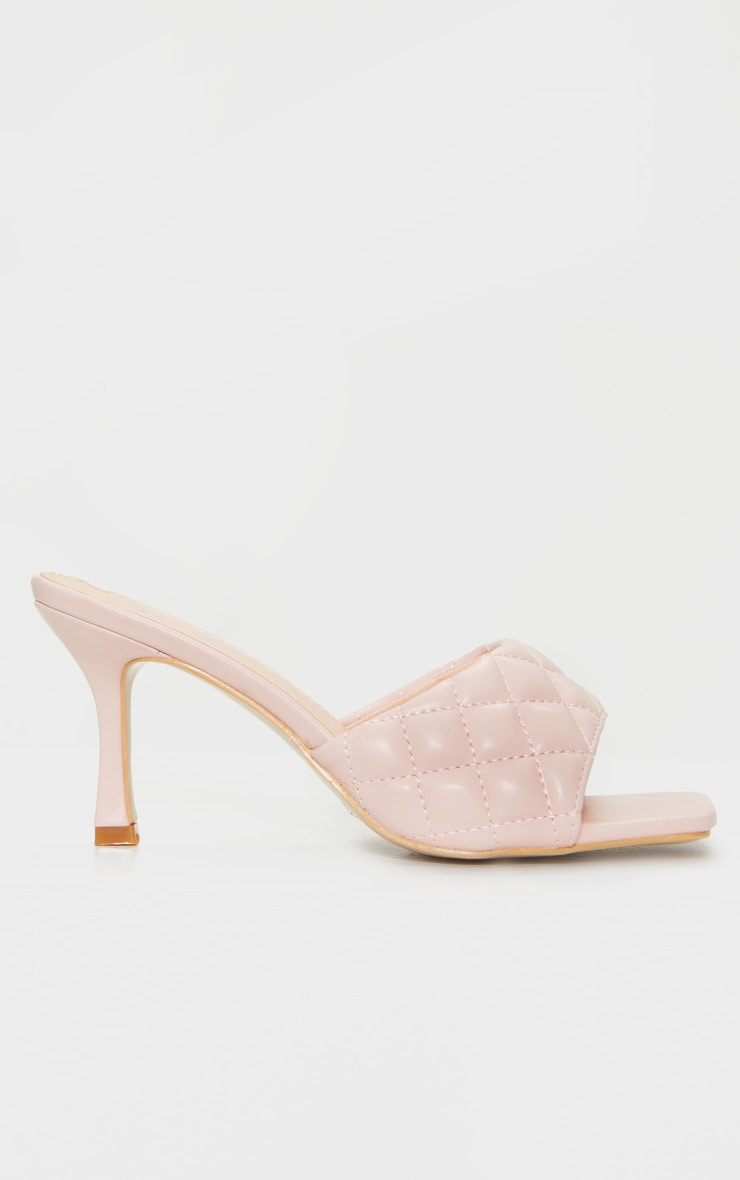 Pale Pink Quilted Square Toe Low Heel Mule 3