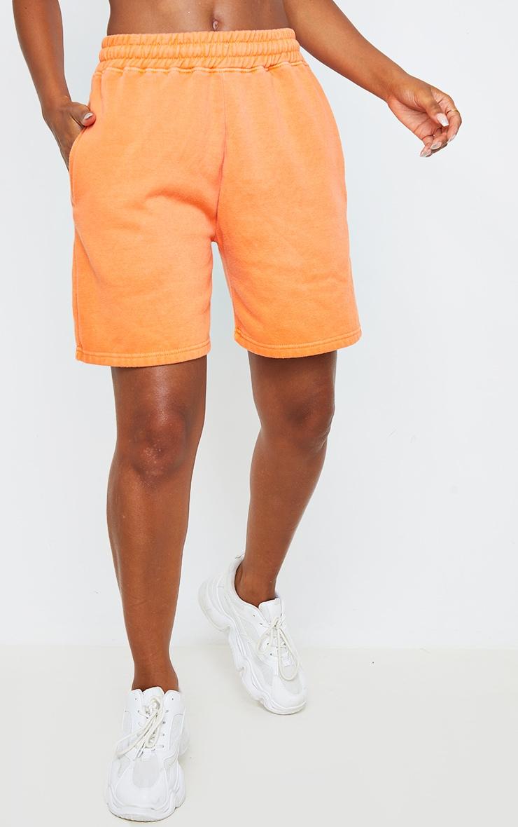 Bright Orange Washed Sweat Runner Shorts 2