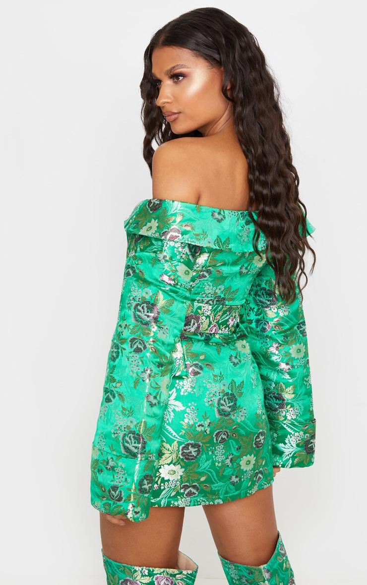 Robe moulante verte imprimé style asiatique à épaules découvertes 2