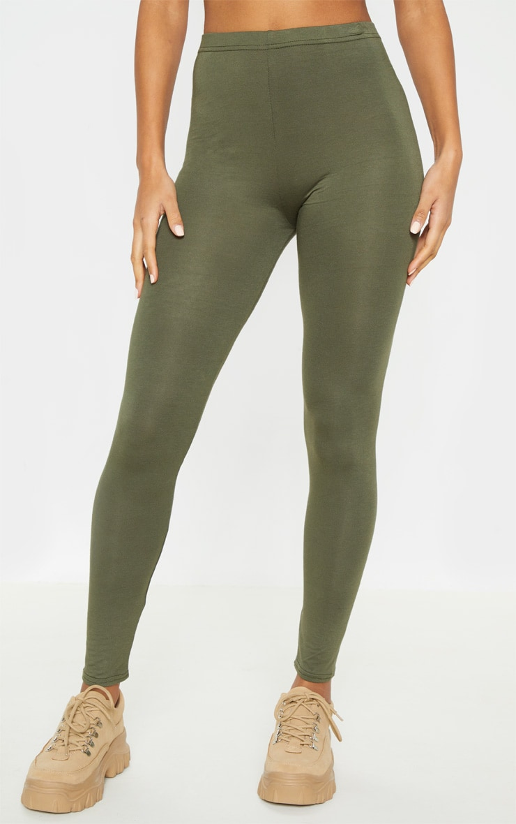 Basic Black and Khaki Jersey Leggings 2 Pack 2