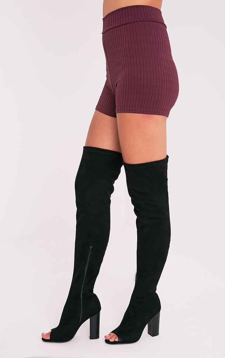 Janice Aubergine Ribbed Shorts 3