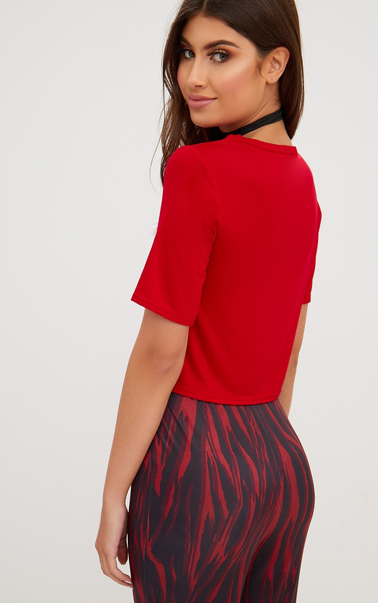 Red Lace Up Front Cropped T Shirt 2