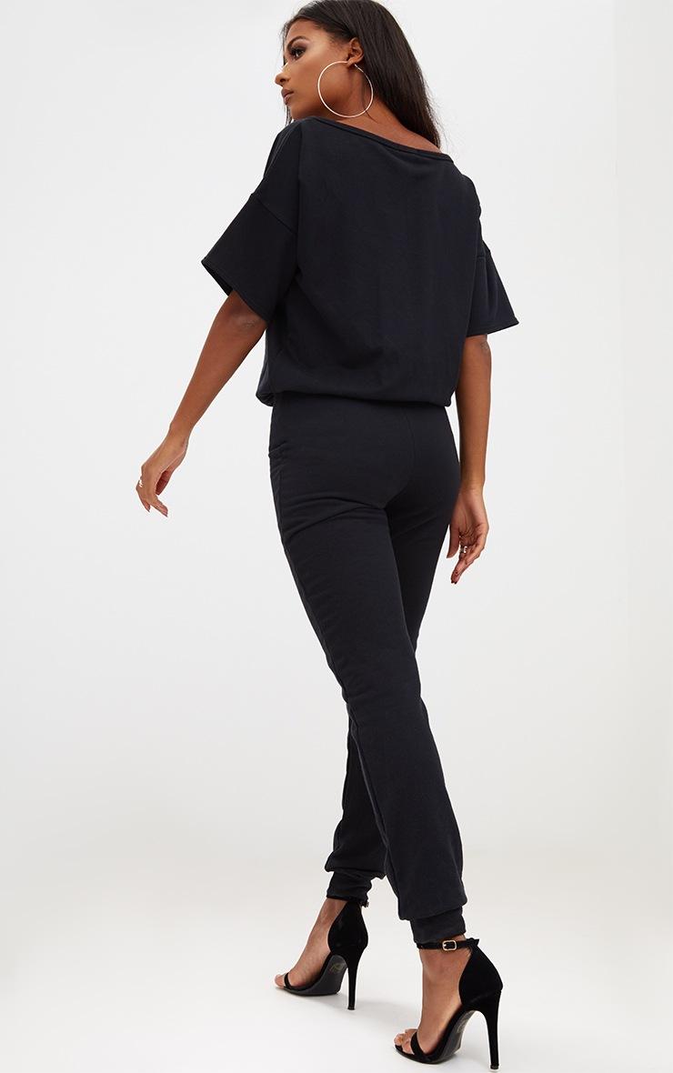 Black Loop Back Sports Stripe Jumpsuit 2