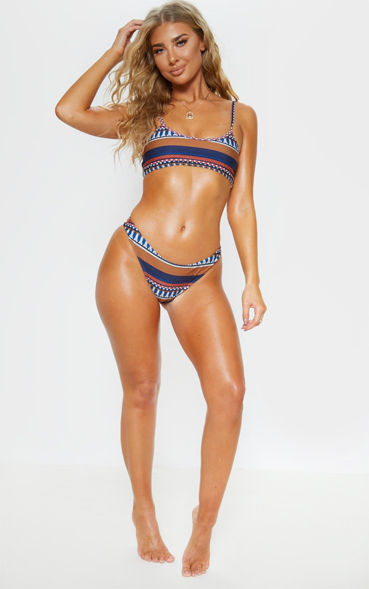 Brown Geo Stripe Print High Leg Bikini Bottom 5
