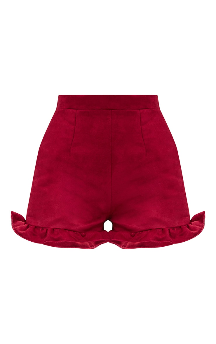 Red Faux Suede Frill Hem Shorts 3