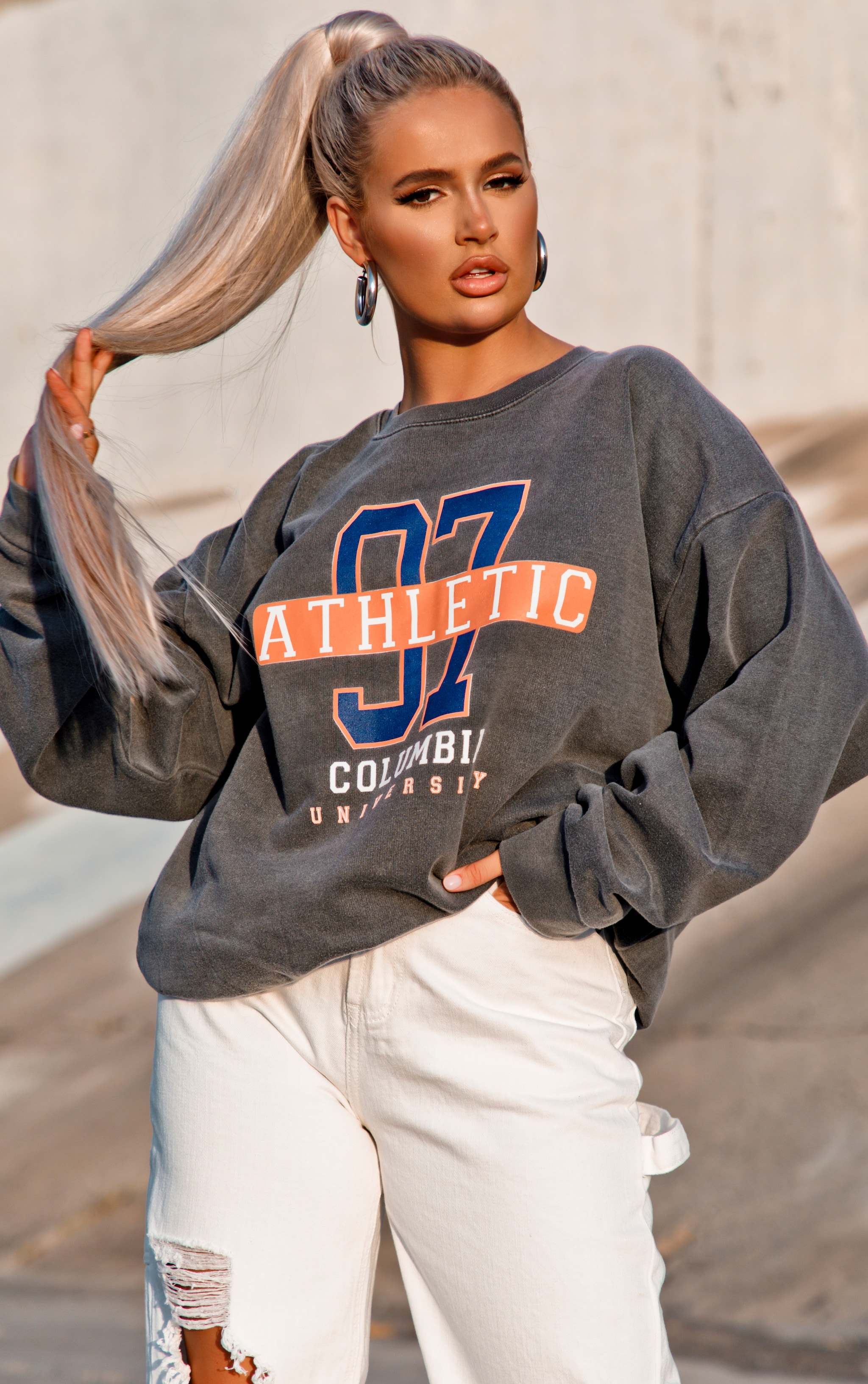 Charcoal 97 Athletic Slogan Sweater 2
