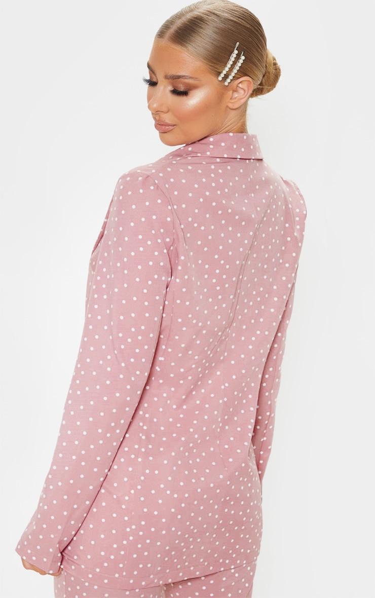 Pastel Pink Polka Dot Longline Woven Blazer 2