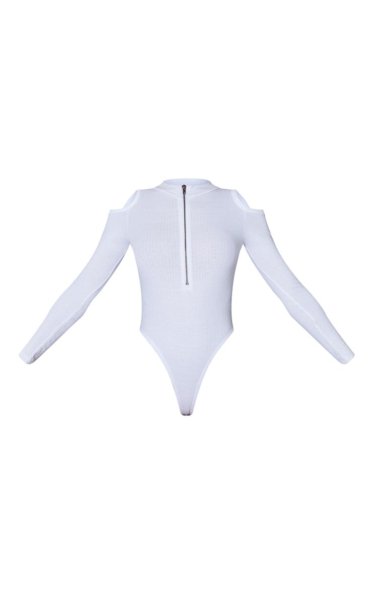 White Rib Cold Shoulder Zip Front Long Sleeve Bodysuit 5