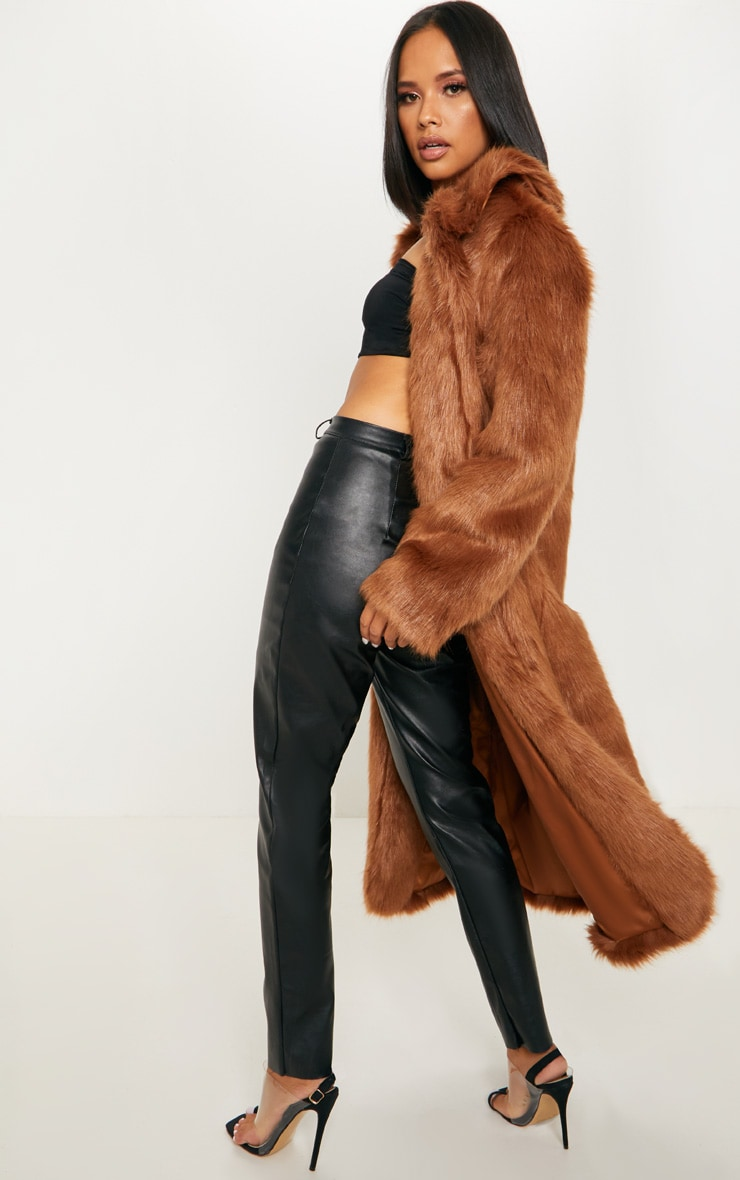 Brown Maxi Faux Fur Coat  3