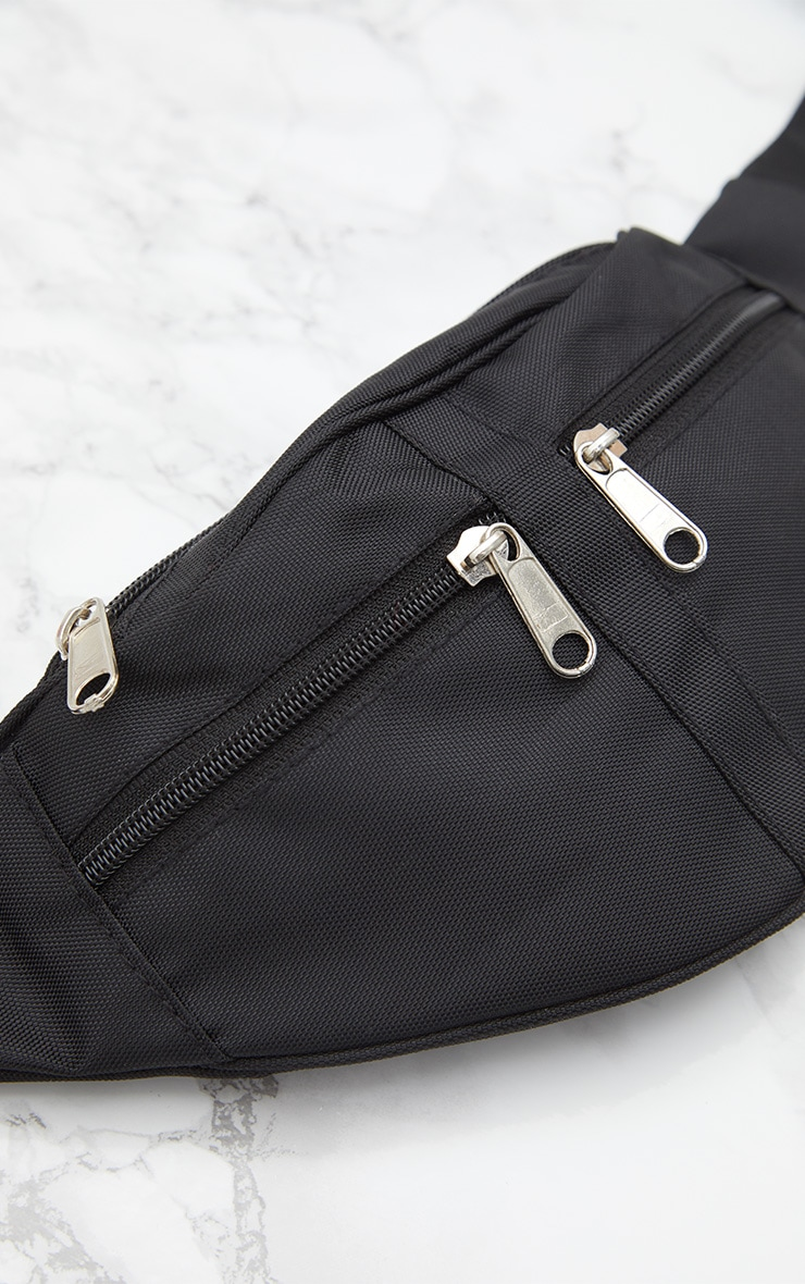 Black Double Zip Bum Bag 5