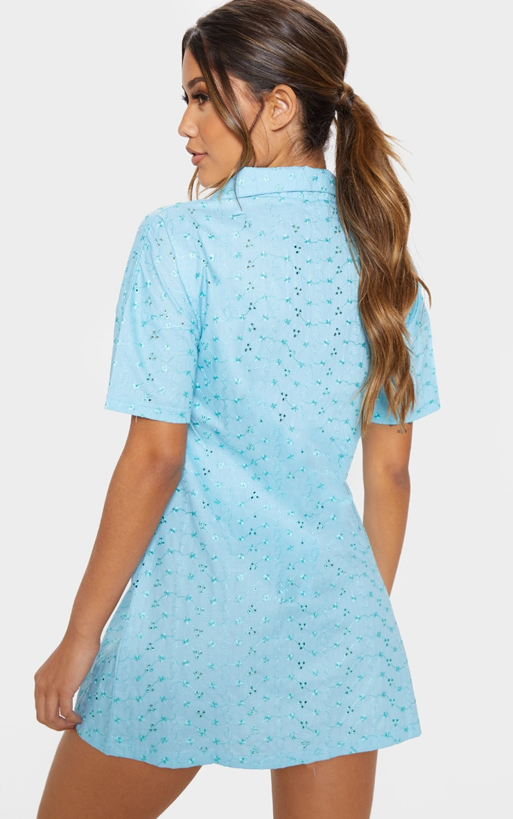 Baby Blue Broderie Analgise Tortoise Shell Button Shirt Dress 2