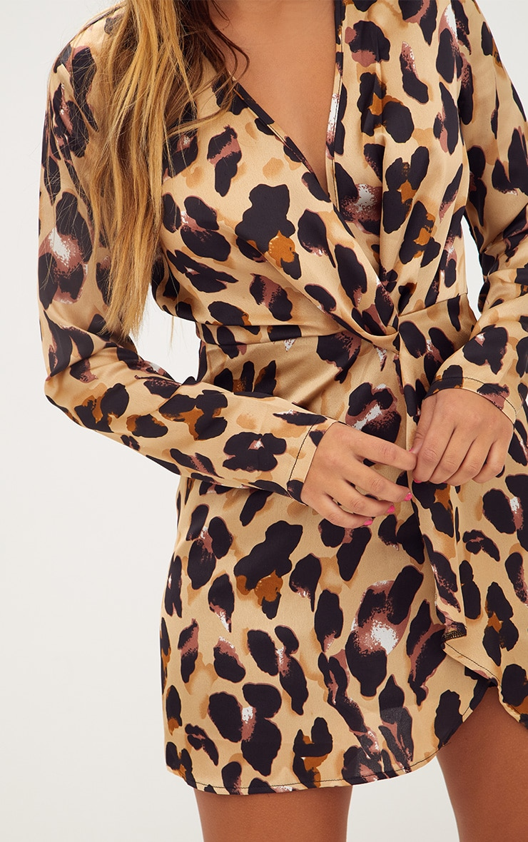 Leopard Print Satin Long Sleeve Wrap Dress 5