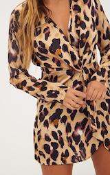 Leopard Print Satin Long Sleeve Wrap Dress 5