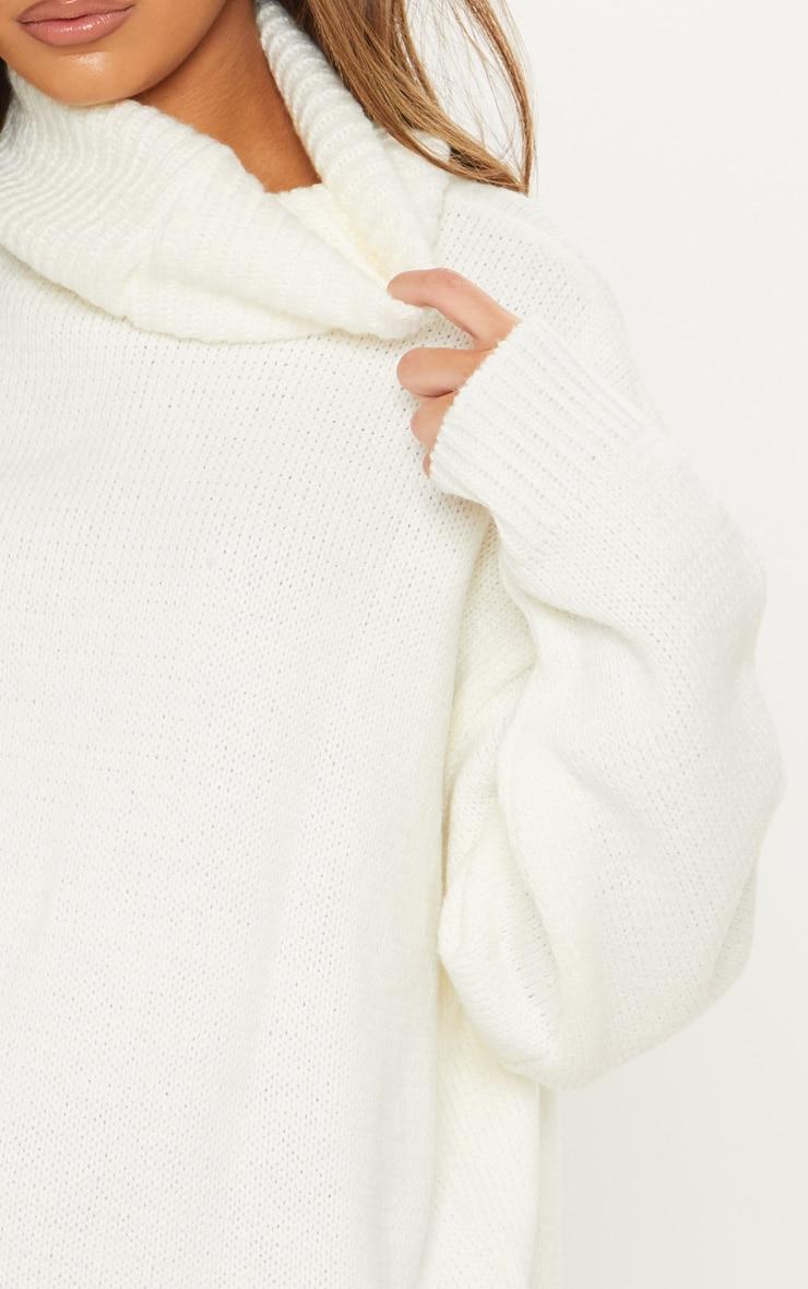 Cream High Neck Fluffy Knit Jumper  5