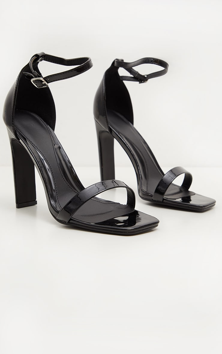 Black Square Toe Flat Heel Sandal 3