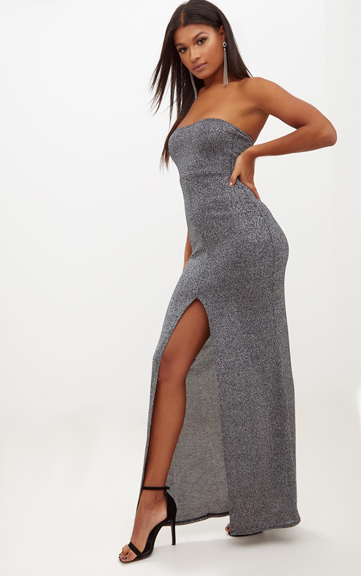 Silver Glitter Lurex Bandeau Maxi Dress 4