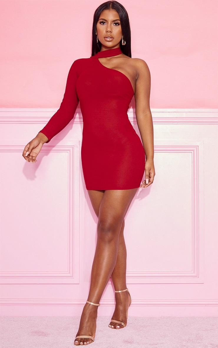 Burgundy Choker One Shoulder Bodycon Dress 4