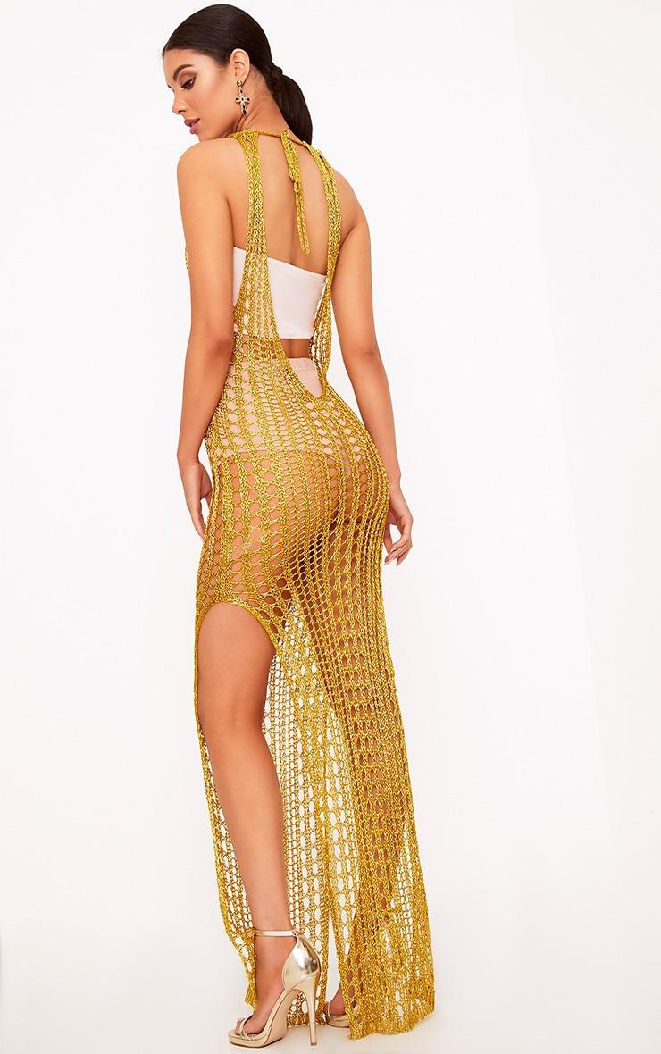 Elissa Gold Metallic Open Knit Maxi Dress 2