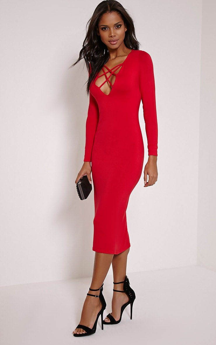 Thelma Red Lattice Front Long Sleeve Midi Dress 1
