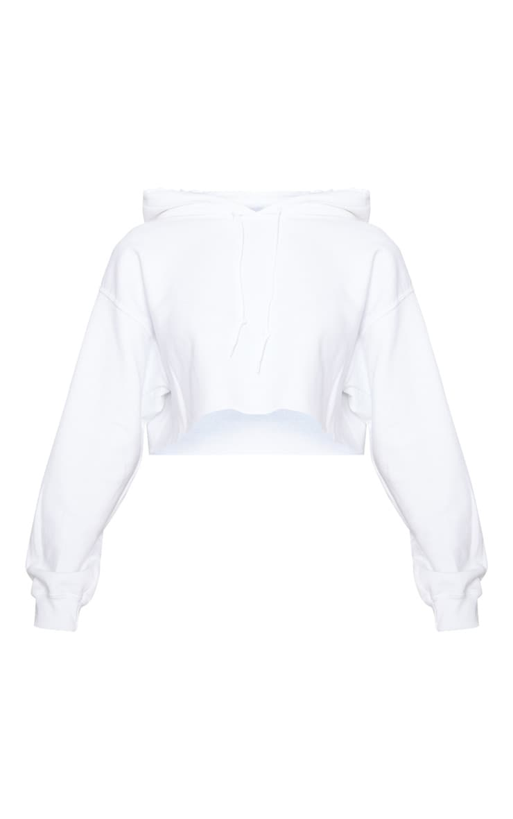 White Ultimate Oversized Crop Hoodie  3