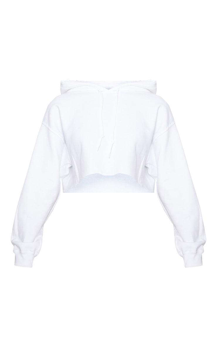 Hoodie court blanc oversize 3
