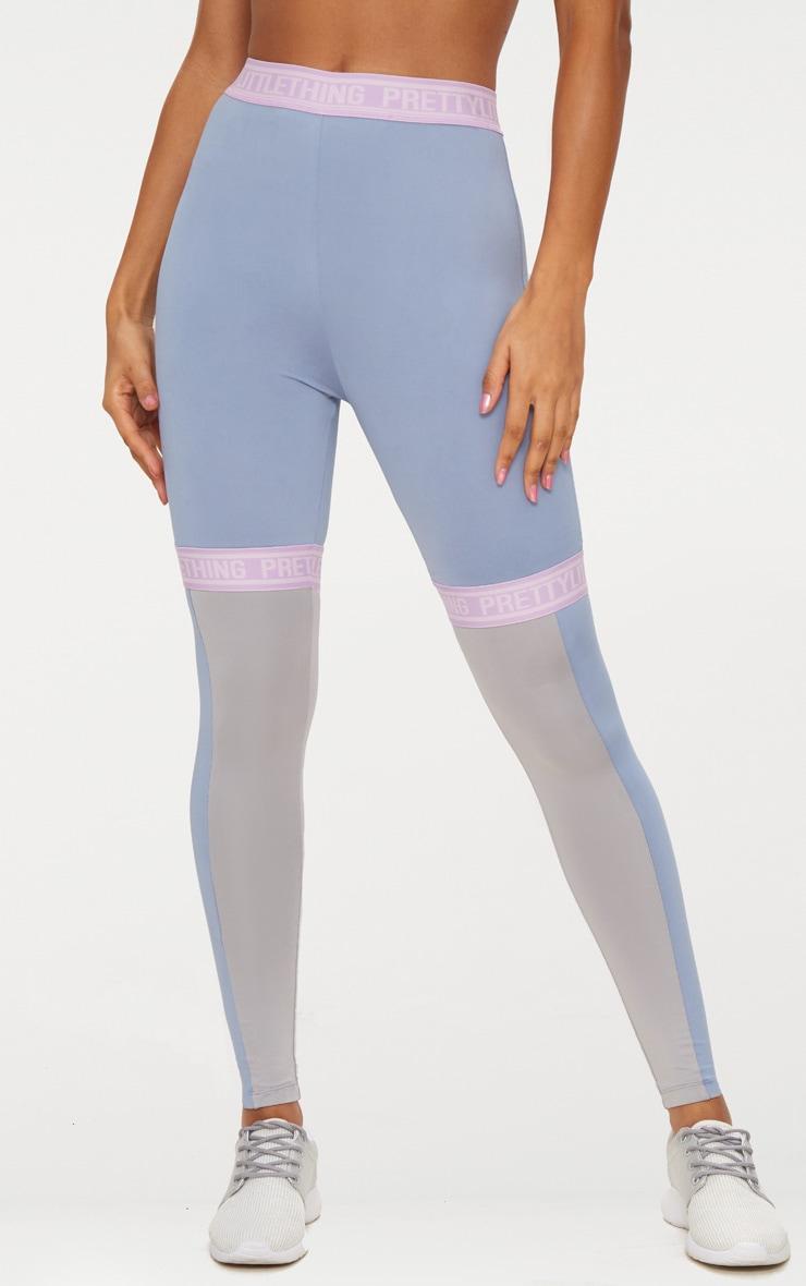 PRETTYLITTLETHING Dusky Blue Elastic Trim Sports Leggings 2