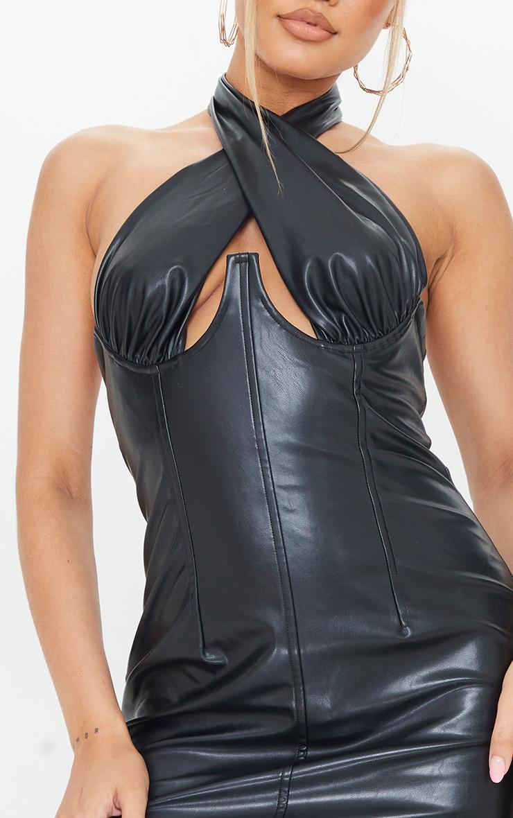 Black PU Halterneck Underbust Detail Bodycon Dress 4